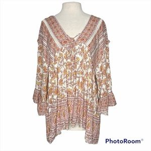Free People flutter floral hi low tunic top blouse